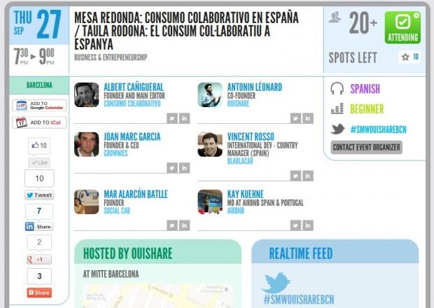 smw bcn Mesa redonda: El Consumo Colaborativo en España