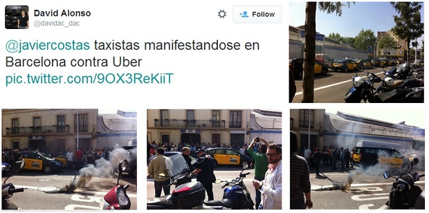 El sector del taxi protesta por la llegada de Uber a Barcelona