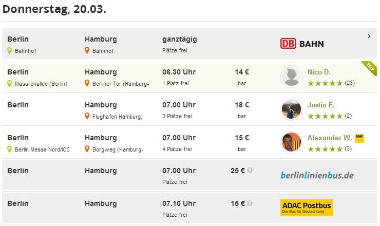 Carpooling en Alemania ofrece trenes y autobuses también