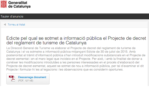 Edicto Generalitat de Catalunya